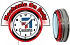 "Cessna Aircraft w/ Mechanic on Duty Red Marquee 19"" Red Neon Clock Mancave"