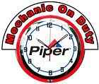 "Piper Aircraft w/ Mechanic on Duty Red Marquee 19"" Red Neon Clock Mancave"