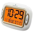 Marathon Atomic Alarm Clock with Temperature and Date - White