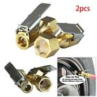2pcs Metal Tire Inflator Open Flow Straight Lock-On Air Chuck with Clip #d