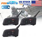 3Pcs V6 BT Motorbike Intercom Earphone Bluetooth Helmet Headsets Hi-Fi 1200M GPS