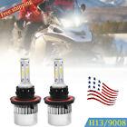2x H13 Bulb Snowmobile LED Bulbs 48W 6000K Hi/Low Headlight Kit For Polaris