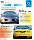 1999 CAMARO Z-28 vs Ford MUSTANG GT Road Test Brochure, Z28