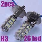 2 x New Xenon White H3 26 LED SMD Car Fog Light Bulbs
