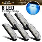 """5x Clear/Blue Waterproof Utility Strip Light 4"""" 6LED Side Marker Light Universal"""