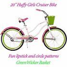"20"" Huffy Girls Cruiser Bike Lipstick Pink White Bicycle w/ Green Wicker Basket"
