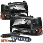 Fits 92-96 F150 F250 F350 Crystal Black Headlights Lamps+DRL LED Running Lamps