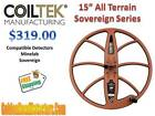 "CoilTek 15"" All Terrain DD Coil For Minelab Sovereign Metal Detectors Ships FREE"