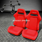 PAIR NRG TYPE-R STYLE RED CLOTH RACING SEAT+BRACKET FOR 89-97 MIATA MX-5 NA