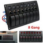8 Gang 12-24V Led Car Marine Boat Rocker Switch Panel Circuit Breaker Waterproof