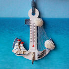 Wood Anchor Thermometer Crafts Art Wall Hanging Hook Nautical Vintage Home Decor