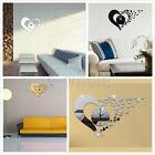 Wall Clock 3D Heart Mirror DIY Watch Home Decoration Living Teen Girls Room HM