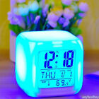 7Color LED Change Digital Glowing Alarm Clock Thermometer Color Electronic Clock