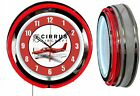 "Cirrus Aircraft Red 19"" Double Neon Clock Red Neon Chrome Finish"