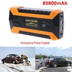 12V Portable 4 USB Car Battery Charger Booster Jump Starter 89800mAh Power Bank
