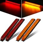 "4 Pack 8""x1"" Red/Amber Led Slim Line Led Utility Strip Lights 18 Diodes RV Boat"