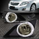 FOR 09-10 COROLLA SMOKED LENS CHROME RING OE DRIVING PAIR FOG LIGHT LAMP+SWITCH