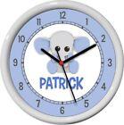 Cute Blue Elephant Personalized Wall Clock Nursery Boy Child Decor Shower Gift
