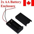 2x AA Battery Holder Case Electronics Box Storage Cover Switch 3V Wire Leads