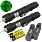 2Sets Star Cap 10Miles Beam Green Laser Pointer Pen 18650 532nm Battery+Charger