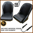 Pair HEATED BB Vintage Classic Car Bucket Seats Low Back Universal Design