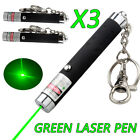 3x 532nm  Dot or Star Green Laser Pointer Light AAA Battery w/ Key Chain
