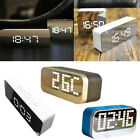 Travel Home LED Alarm Clock with Snooze Thermometer Calendar Night Mode Mirror
