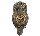Steampunk Owl Pendulum Wall Clock Statue Sculpture Figurine *HOME DECOR*