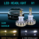 1 Pair H1 LED Headlights Bulbs Fog and white light Conversion 360W 6000K/3000K