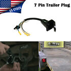 1Trailer Socket Adapter 4-Way Flat to 7-Way Round RV Electrical w/Cable US STOCK