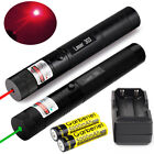 20Miles Range Green+Red Laser Pointer Pen Visible Beam Lazer Battery+Charger NEW