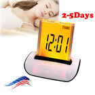 USA 7 LED Color Changing Digital LCD Thermometer Calendar Alarm Clock Time A+