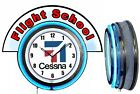 "Cessna Aircraft w/ Flight School Red Marquee 19"" Blue Neon Clock Mancave"