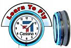 "Cessna Aircraft w/ Learn to Fly Red Marquee 19"" Blue Neon Clock Mancave"