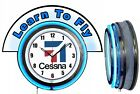 "Cessna Aircraft w/ Learn to Fly Blue Marquee 19"" Blue Neon Clock Mancave"