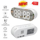 Modern Digital LED Snooze Alarm Clock Mirror Screen 12/24H Bedroom Desk Decor US