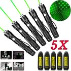 5pcs 532nm 1mw Green Laser Pointer Pen Visible Beam Light 18650 Battery+Charger