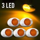 5 HOT SALE AMBER Led Light Side Marker 3SMD ID Light w Chrome Bezel Assembly