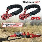 """2pcs RED BLACK 1/2"""" Soft Shackle Rope Synthetic Towing Strap 38000LB-WLL 7.5Tons"""