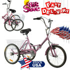 """7 Speed Foldable Tricycle 20"""" Portable Cruise Bike Folding Bicycle w/Basket Pink"""