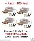 4 Pcs --  HD 100FT BNC Male Cable w 2 Female Connectors