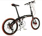 New Black 20'' Foldable Folding Bike Bicycle Disc Brake Shimano 7-Speed 14kg