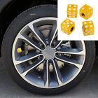 4PCS Car Wheel Tyre Tire Air Valves Dust Caps Stems Cover Wheel Rims Dice Gold