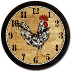 """Black & White Rooster LARGE WALL CLOCK 10""""- 48"""" Quiet Non-Ticking WOOD HANDMADE"""