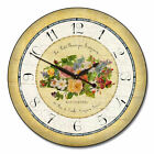 "Emilie Floral LARGE WALL CLOCK 10""- 48"" Whisper Quiet Non-Ticking WOOD HANDMADE"