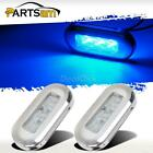 """Pair 3"""" x 1.25"""" Marine Courtesy Accent Light Polished Stainless Steel Clear/Blue"""