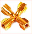 4PC ROCKETS Universal Tyre Air Valve GOLD Car Valve Caps Bicycle Tire Cap Wheel