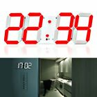 Remote Control Digital LED Display Hanging Wall Clock White Frame of Red Light