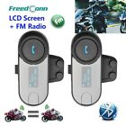2PCxBT Bluetooth Motorcycle Helmet FM Radio Intercom Interphone Headset W/Screen