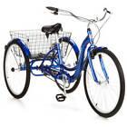 "Adult Tricycle Bike Blue Three 26"" Wheels Bicycle Trike Rear Folding Basket Men"